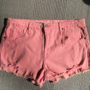 Mossimo Pink Destroyed High Rise Denim Shorts
